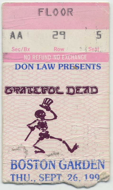 Grateful Dead Ticket Sept 26, 1991